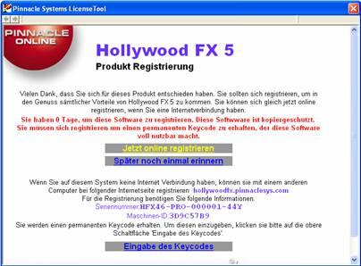 HollywoodFX image001 Lizenzierung und Registrierung