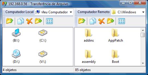 Radmin filetransferwnd Interface da Transferência de Arquivo