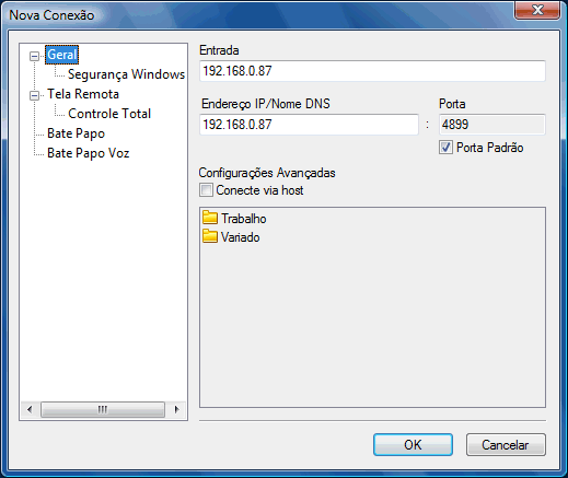 Radmin options addrec Alterar configurações