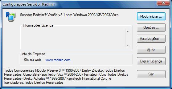 Radmin srvcfg Configurações diversas