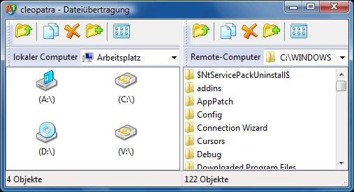 Radmin filetransferwnd Dateiübertragungs Benutzeroberfläche