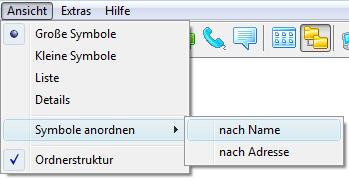 Radmin menuview Oberes Menü verwenden
