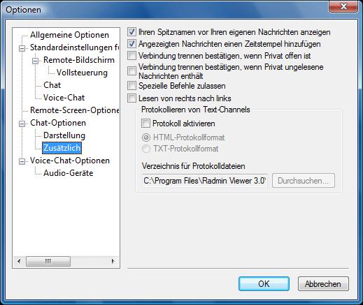 Radmin options c additional Zusätzliche Chat Optionen