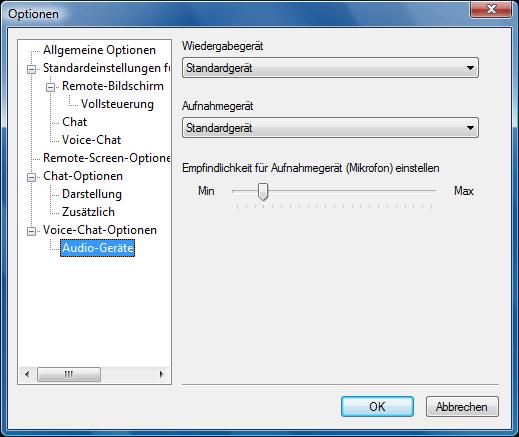 Radmin options vc adevices Audio Geräte