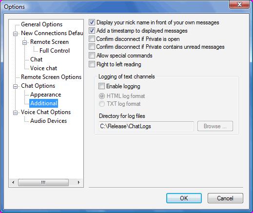 Radmin options c additional Additional chat options