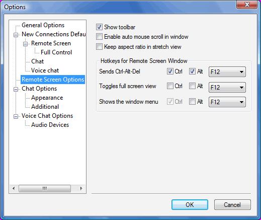 Radmin options rscreen Remote screen