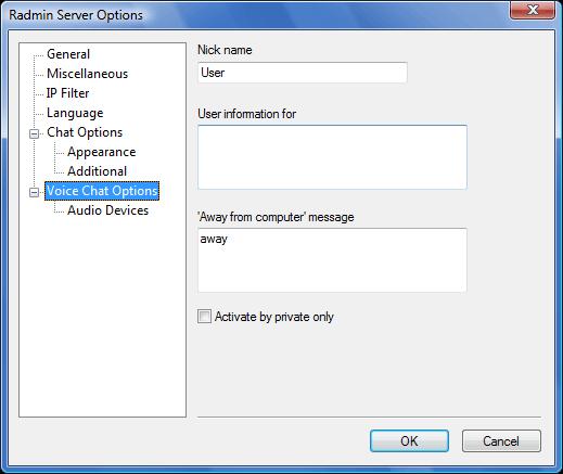 Radmin srvcfg options vchat Voice Chat options