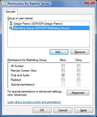 Radmin srvcfg perm Using Windows Security