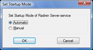Radmin srvcfg startup Choosing startup mode