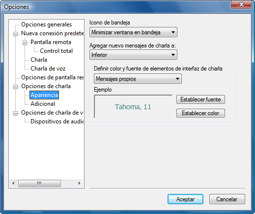Radmin options c appearance Apariencia de charlas