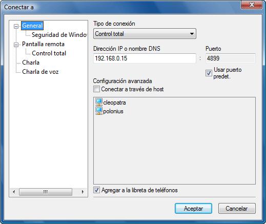 """Radmin options connectto Ventana """"Conectar a"""""""