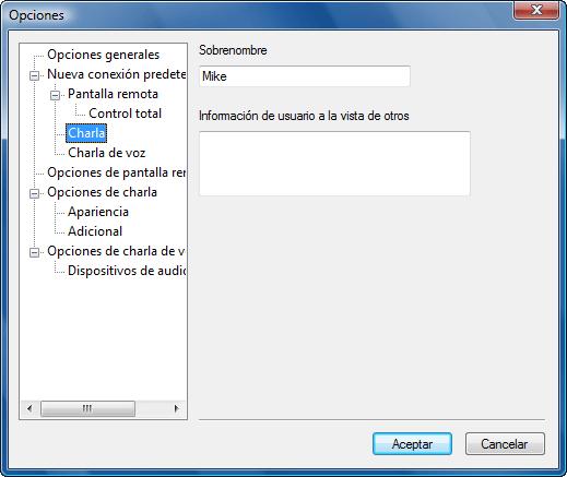 Radmin options d chat Configuración predeterminada de charla