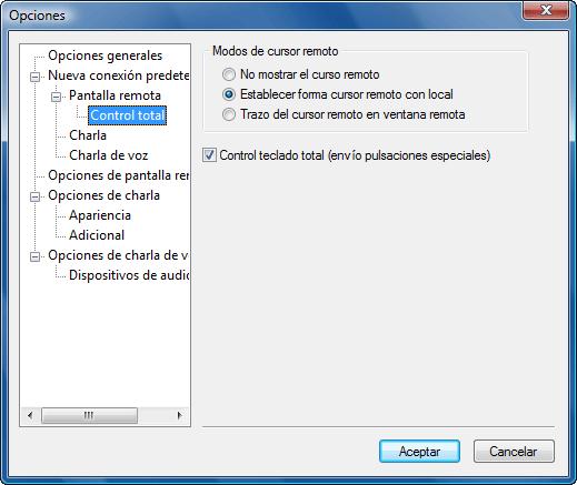 Radmin options d fullcontrol Opciones de Control total