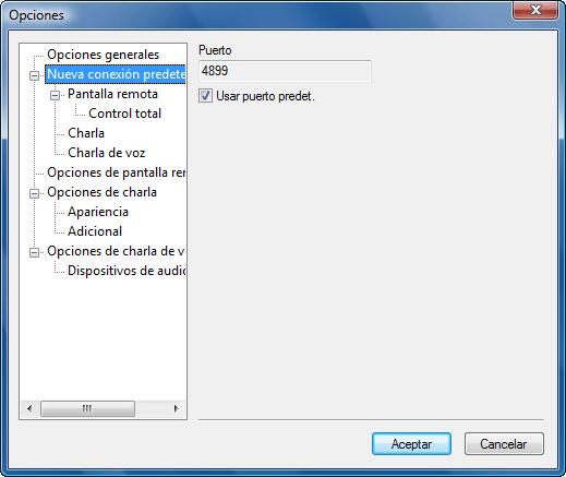 Radmin options defaults Configuración predeterminada de nueva conexión