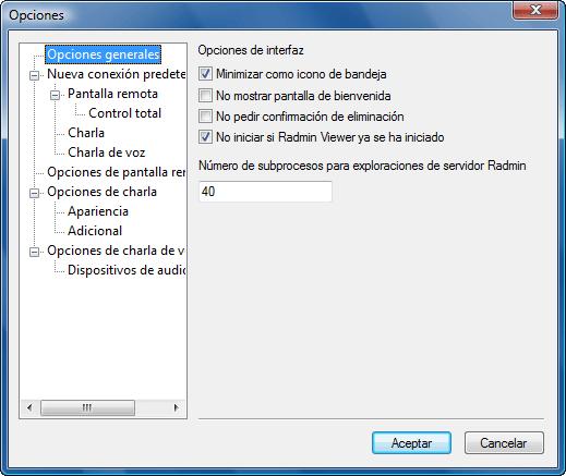 Radmin options general Opciones de Radmin Viewer