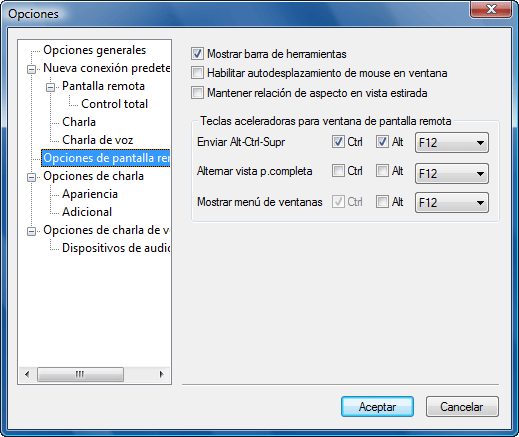 Radmin options rscreen Pantalla remota