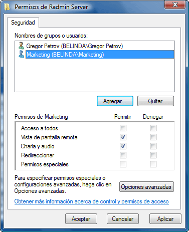 Radmin srvcfg perm Uso de la seguridad de Windows