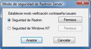 Radmin srvcfg secmode Uso de la seguridad de Radmin