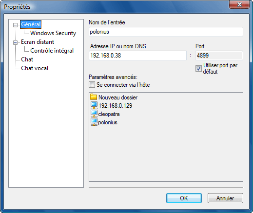 Radmin options addrec Utilisation de surnoms