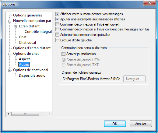 Radmin options c additional Autres options de chat