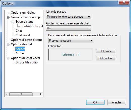 Radmin options c appearance Aspect du chat