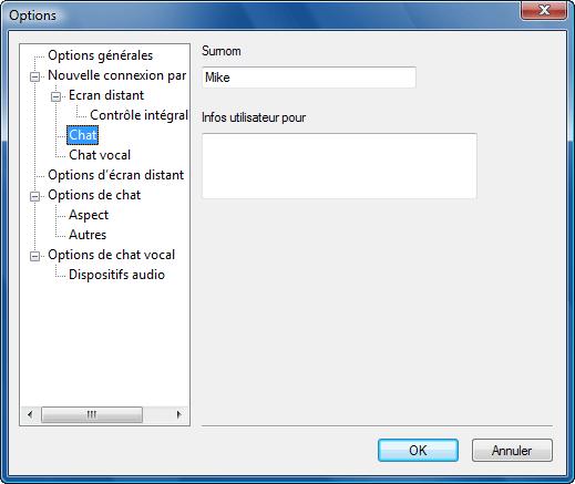 Radmin options d chat Paramètres de chat par défaut