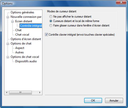 Radmin options d fullcontrol Contrôle intégral par défaut
