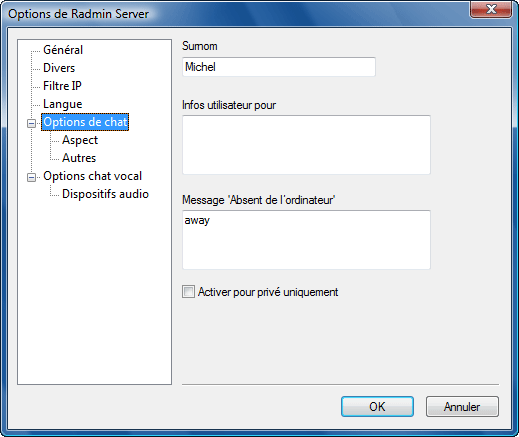 Radmin srvcfg options chat Options de chat de texte