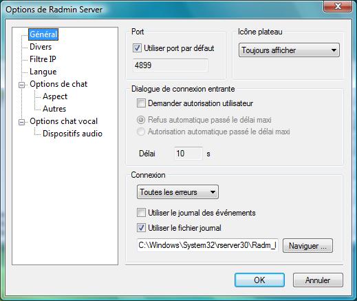 Radmin srvcfg options general Demande dautorisation de connexion