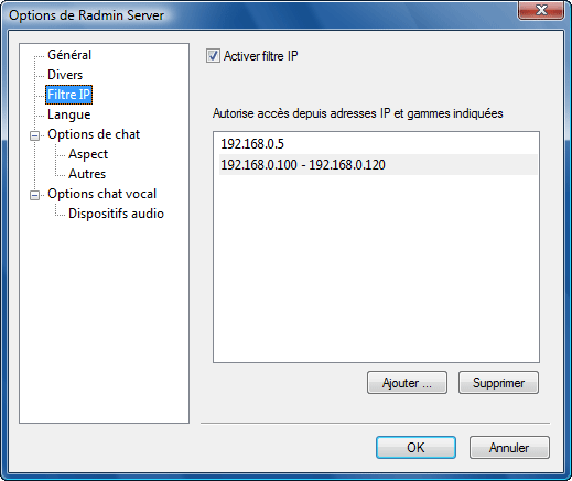 Radmin srvcfg options ipfilter Configuration de filtre IP
