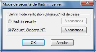 Radmin srvcfg secmode Utilisation de Windows Security