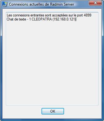 Radmin traymenu curconnections Utilisation de l'icône de plateau