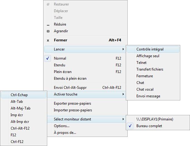 Radmin winmenu Utilisation du menu de fenêtre