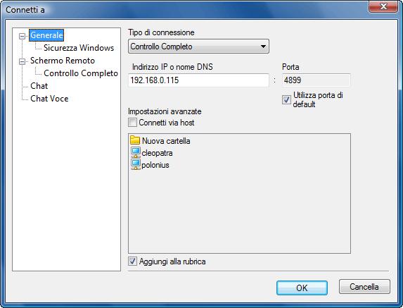 """Radmin options connectto Finestra di """"Connessione a"""""""