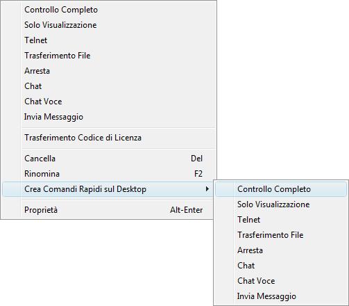 Radmin phonebookconmenu Comandi rapidi sul desktop