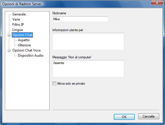 Radmin srvcfg options chat Opzioni Chat Testo