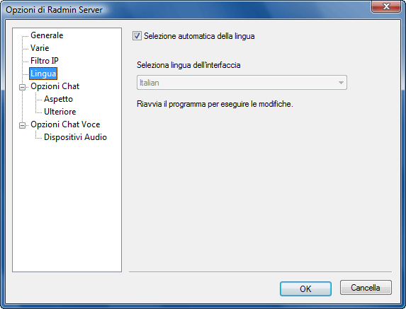 Radmin srvcfg options lang Modifica lingua