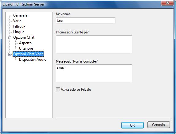 Radmin srvcfg options vchat Opzioni Chat Voce