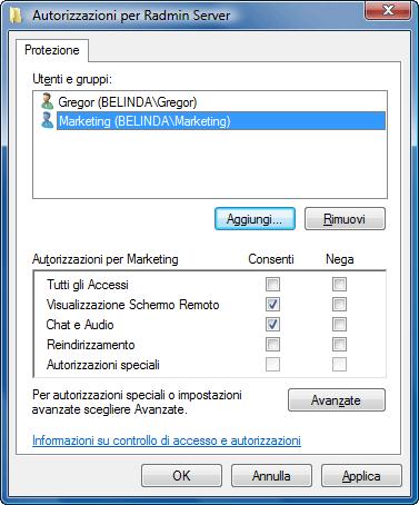 Radmin srvcfg perm Utilizzo Windows Security