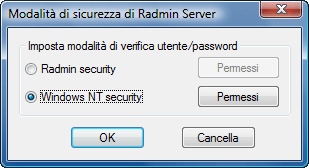Radmin srvcfg secmode Utilizzo Radmin Security