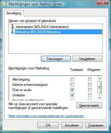 Radmin srvcfg perm De beveiliging van Windows gebruiken
