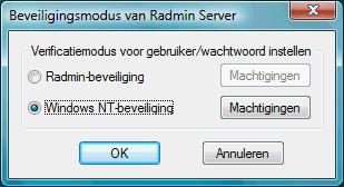 Radmin srvcfg secmode De beveiliging van Radmin gebruiken