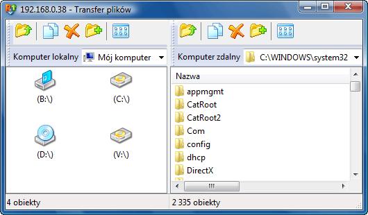 Radmin filetransferwnd Interfejs modułu Przesyłanie plików