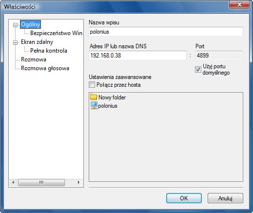Radmin options addrec Dodawanie nowego wpisu