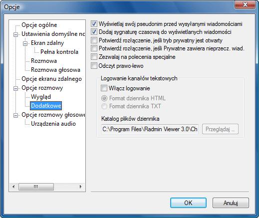 Radmin options c additional Dodatkowe opcje rozmowy