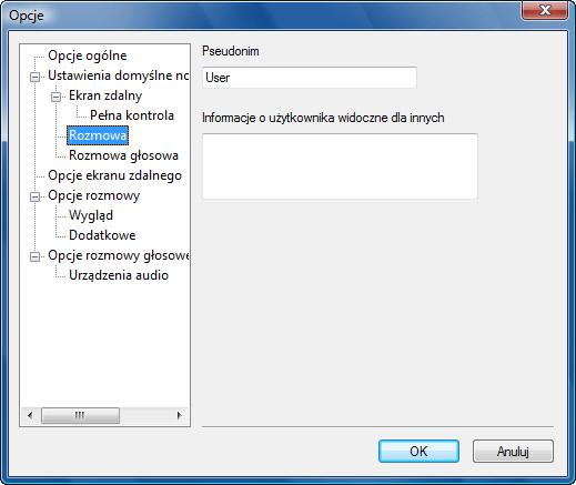 Radmin options d chat Opcje domyślne rozmowy