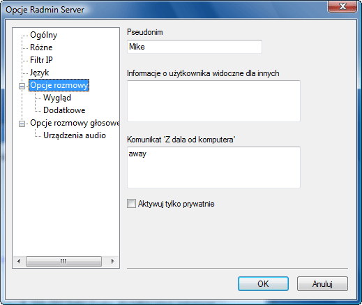 Radmin srvcfg options chat Opcje rozmowy tekstowej