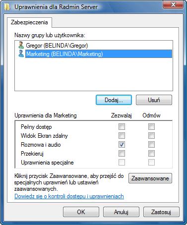 Radmin srvcfg perm Korzystanie z funkcji bezpieczeństwa systemu Windows