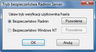 Radmin srvcfg secmode Korzystanie z funkcji bezpieczeństwa systemu Windows