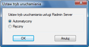 Radmin srvcfg startup Wybór trybu uruchamiania